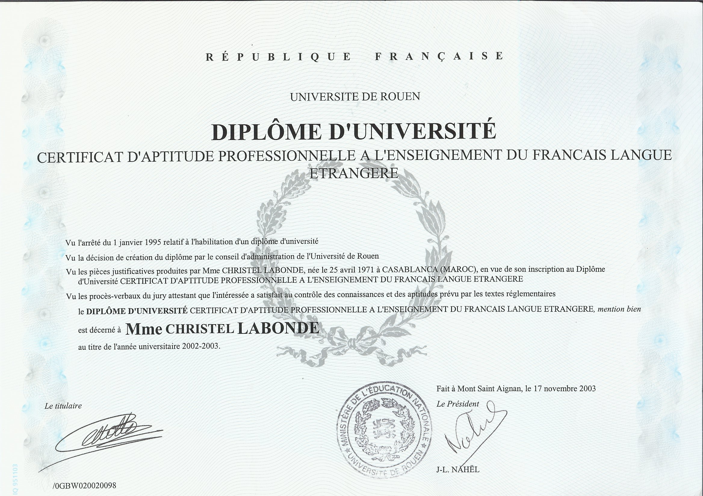 diplome universitaire langue