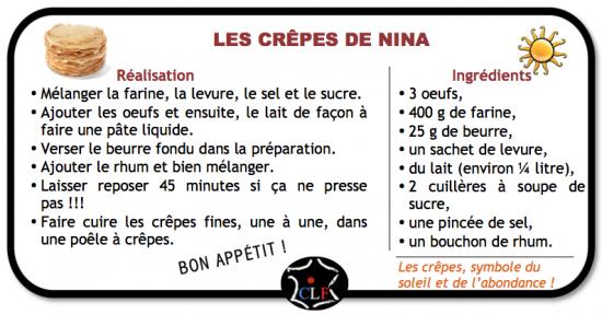 Recette des crêpes de Nina